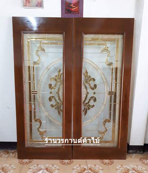 ประตูไม้สักกระจกนิรภัย เต็มบาน เกรดA รหัส A06