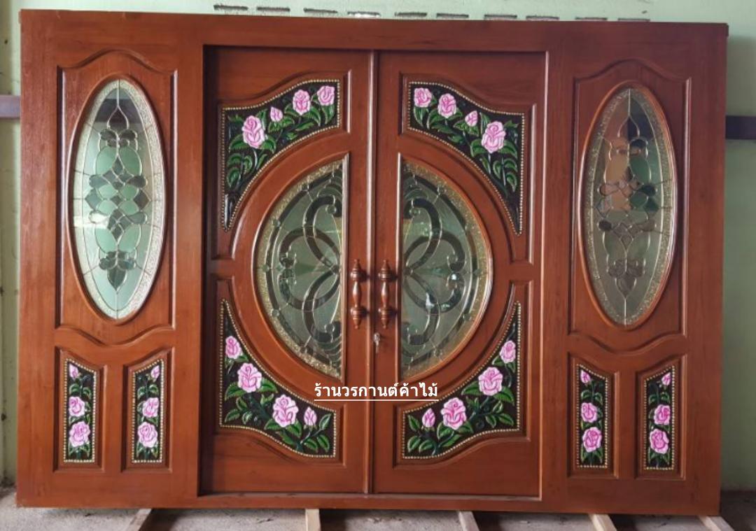 ประตูไม้สักกระจกนิรภัยบานเลื่อนแกะลีลาวดี ชุด4ชิ้น รหัสAAA15