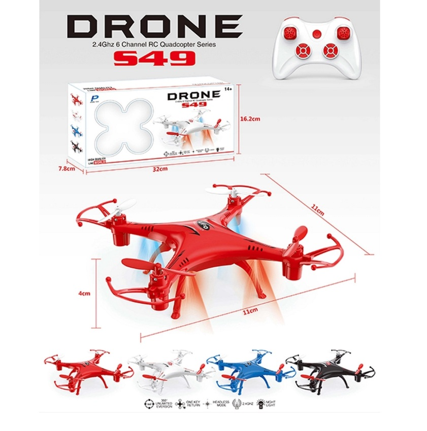 SX โดรน 4 ใบพัดบังคับวิทยุด้วยความถี่ 2.4 Ghz 6 แชแแนล รุ่น S49 (สีแดง) Red Quadcopter Drone 2.4 GHz 6 Channel RC