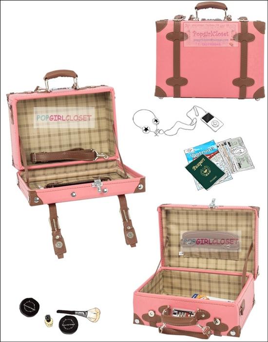 กระเป๋าวินเทจเรโทรสไตล์เกาหลี สีชมพูอ่อนคาดน้ำตาล ดีไซน์แบบสะพายหรือถือเท่านั้น (ไม่มีล้อ) หนัง PU high grade Made to Order ราคาสินค้าอยู่ด้านในค่ะ