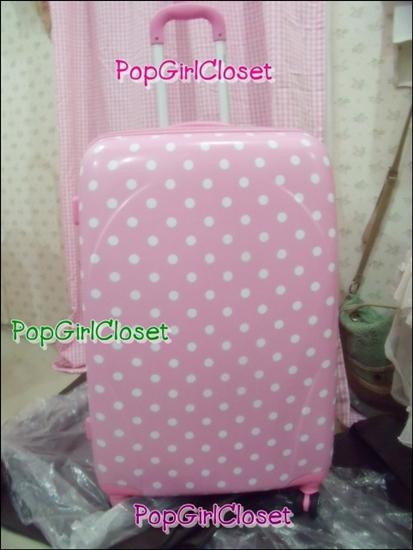 """กระเป๋าเดินทางล้อลากลายจุด PC+ABS Lovely Candy Polka dot Korea Style """"Pink"""" TSA Lock ล้อคู่+ขยายความกว้างด้านข้างได้ ไซส์ 28""""(พร้อมส่ง)"""