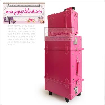 กระเป๋าเดินทางวินเทจสไตล์เกาหลี ดีไซน์ออริจินัล 2 ล้อ คันชักด้านนอก สีชมพูเข้ม Hot Pink หนัง PU มี 3 ไซส์ 20, 22, 24 นิ้ว (Pre-order ราคาแต่ละรุ่นอยู่ด้านในนะคะ)