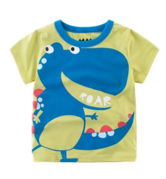 W008 : เสื้อแขนจั๊มสีเขียวคอจั๊มพิมพ์ลายไดโนเสาร์ (2,4)