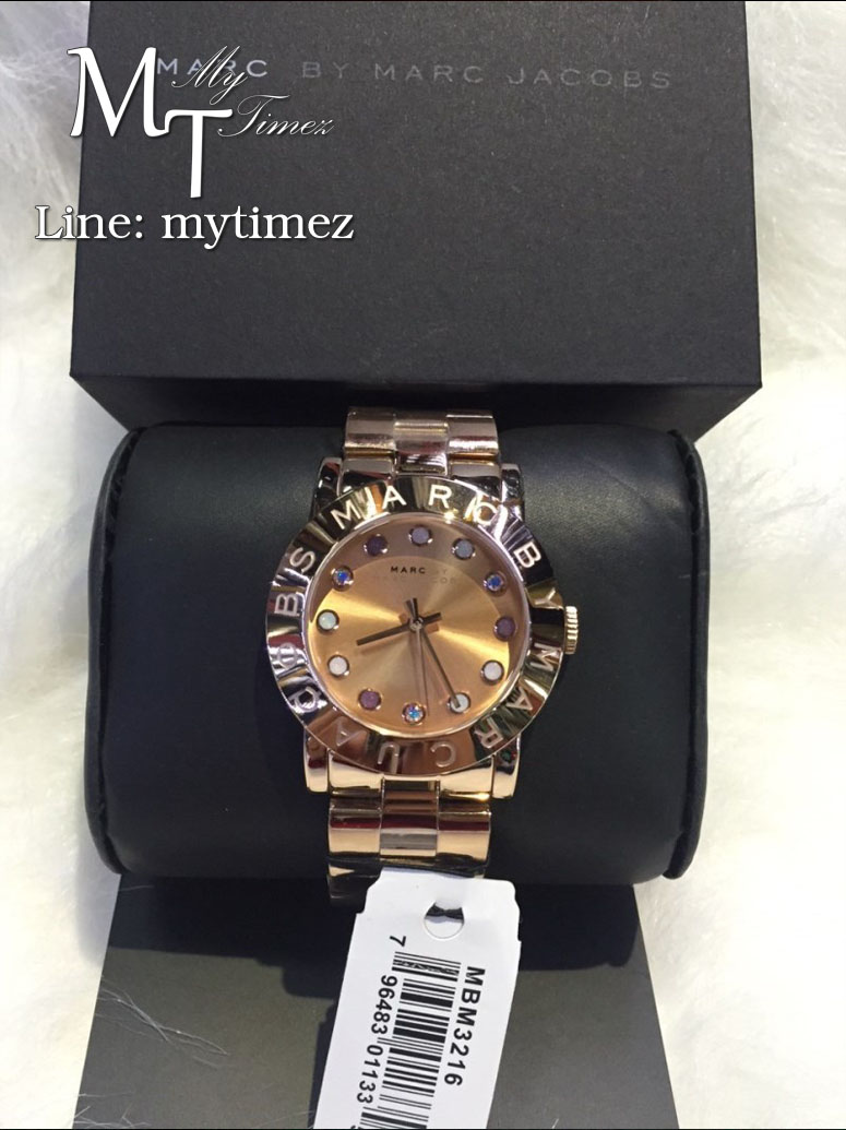 นาฬิกาข้อมือ Marc By Marc Jacobs รุ่น Amy Texter Rose Dial Rose Gold-tone Ladies Watch MBM3216
