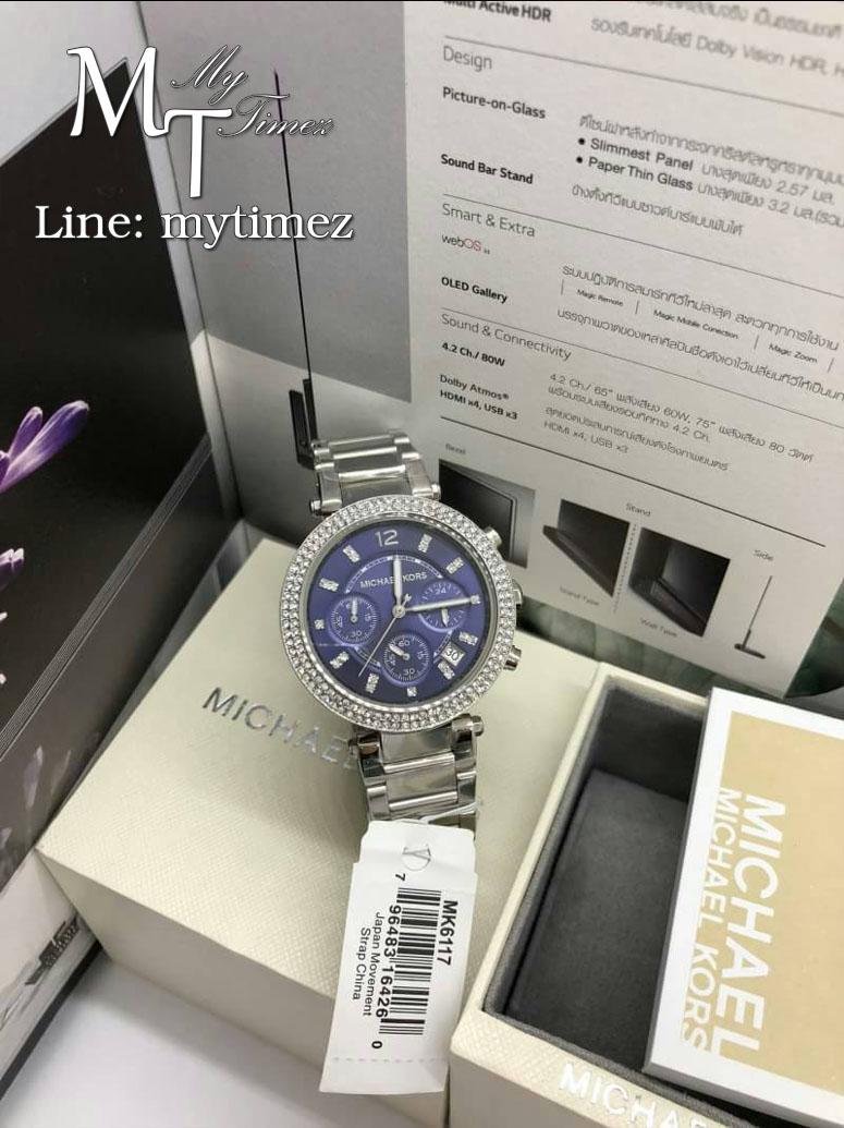 นาฬิกาข้อมือ MICHAEL KORS รุ่น Parker Chronograph Navy Dial Stainless Steel Ladies Watch MK6117