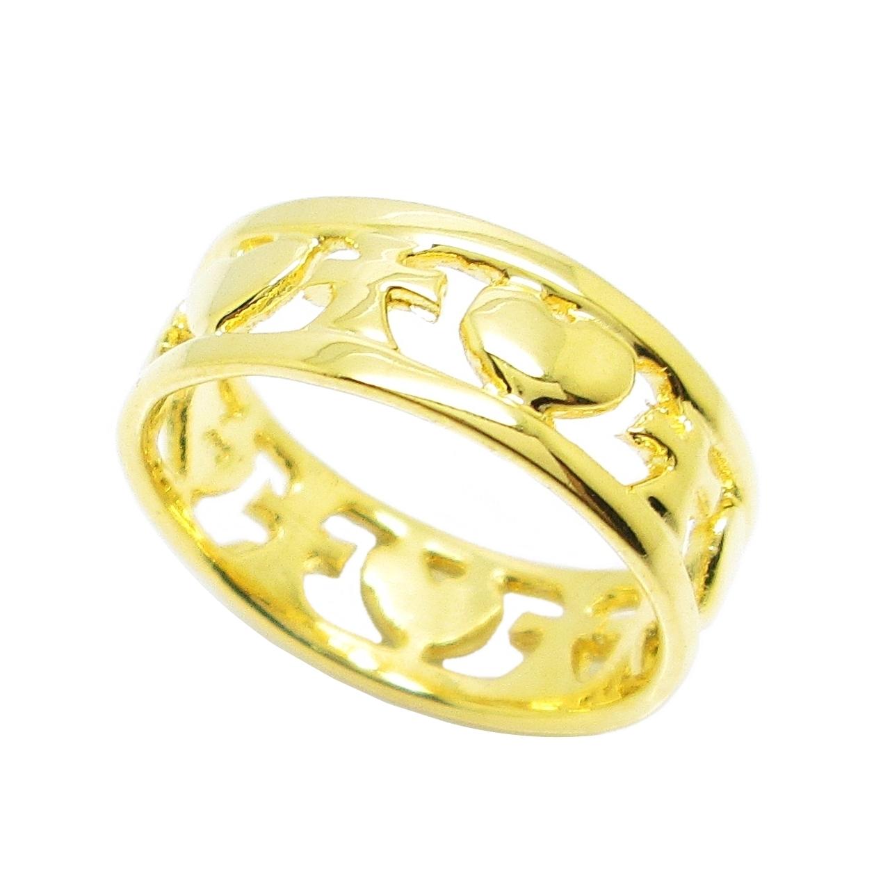 แหวนฉลุหัวใจสลับไม้กางเขนชุบทอง