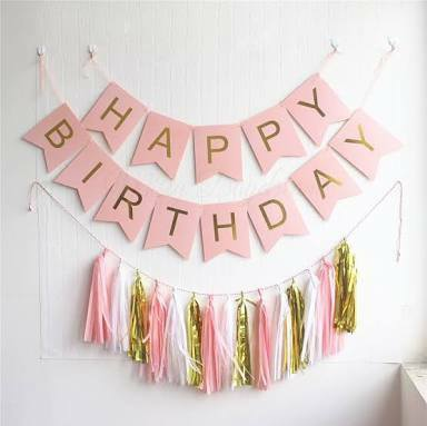 HBD Pastel Pink & Gold Decoration Set
