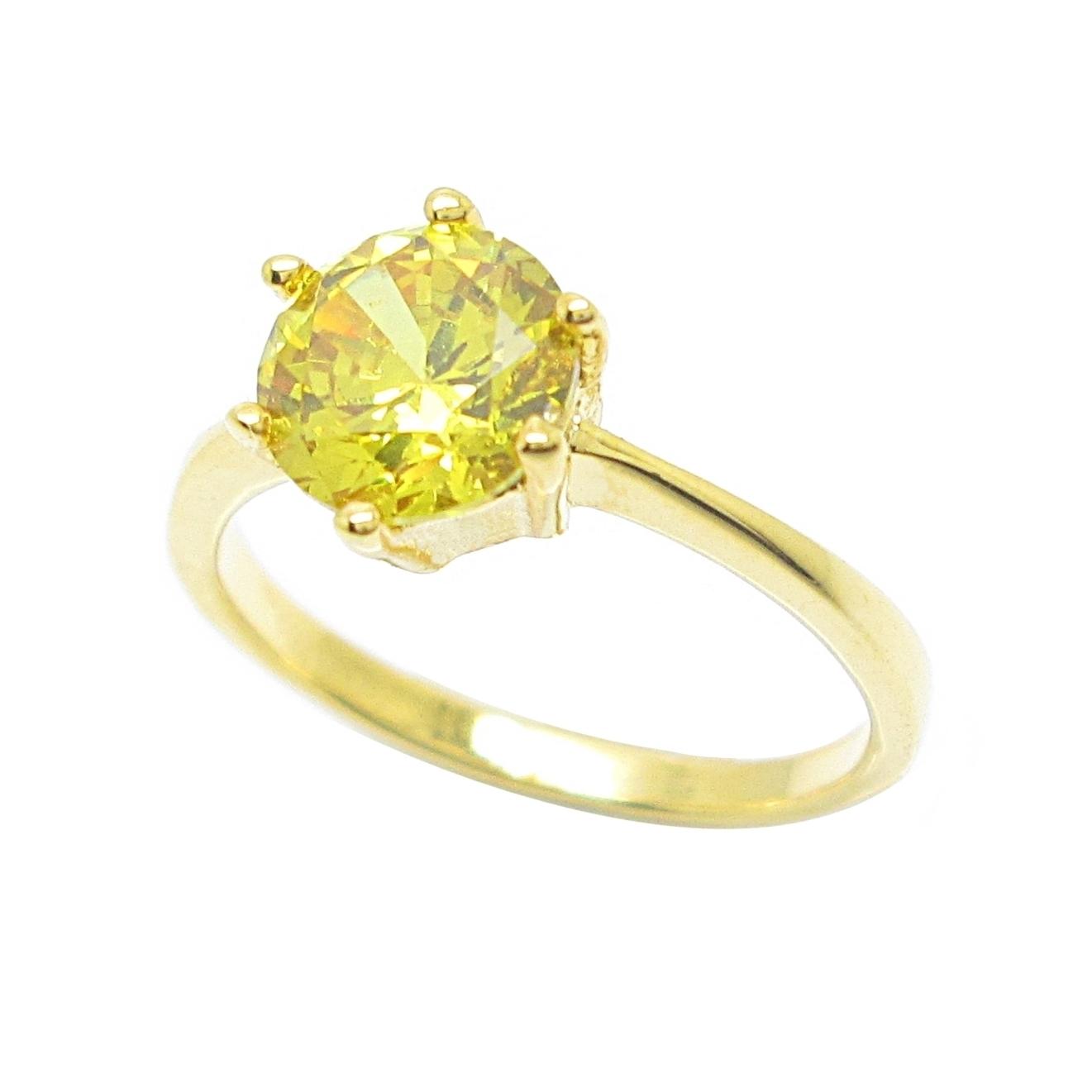 แหวนประดับพลอยบุศราคัมเม็ดเดี่ยวชุบทอง