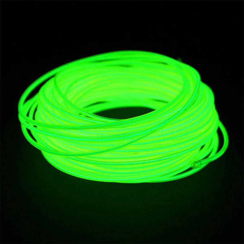 EL Wire 5 เมตร + รางถ่าน AA 2 ก้อน / สีเขียวมะนาว