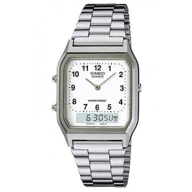 นาฬิกา CASIO ดิจิตอล สีเงินสายสแตนเลส 2 ระบบ รุ่น AQ-230A-7B STANDARD ANALOG DIGITAL RETRO CLASSIC ของแท้ รับประกันศูนย์ 1 ปี