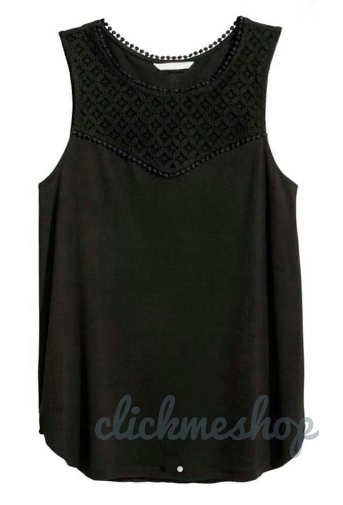 ( ไซส์ XL หน้าอก44-46 นิ้ว ) เสื้อยืด สีดำ แขนกุด ยี่ห้อ H&M อกลูกไม้น่ารักสุดๆ