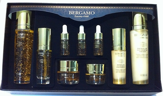 Bergamo Set 9 ชิ้น BERGAMO Luxury Gold Set Made in Korea ชุดบำรุงผิวยกกระชับ ลดริ้วรอยให้ผิวคงความอ่อนเยาว์ กระจ่างใส ด้วยส่วนผสมจากทองคำและสารสกัดจากคาเวียร์เข้มข้น กระตุ้นการไหลเวียนโลหิตบนใบหน้าให้ผิวขาวใสอย่างเป็นธรรมชาติ