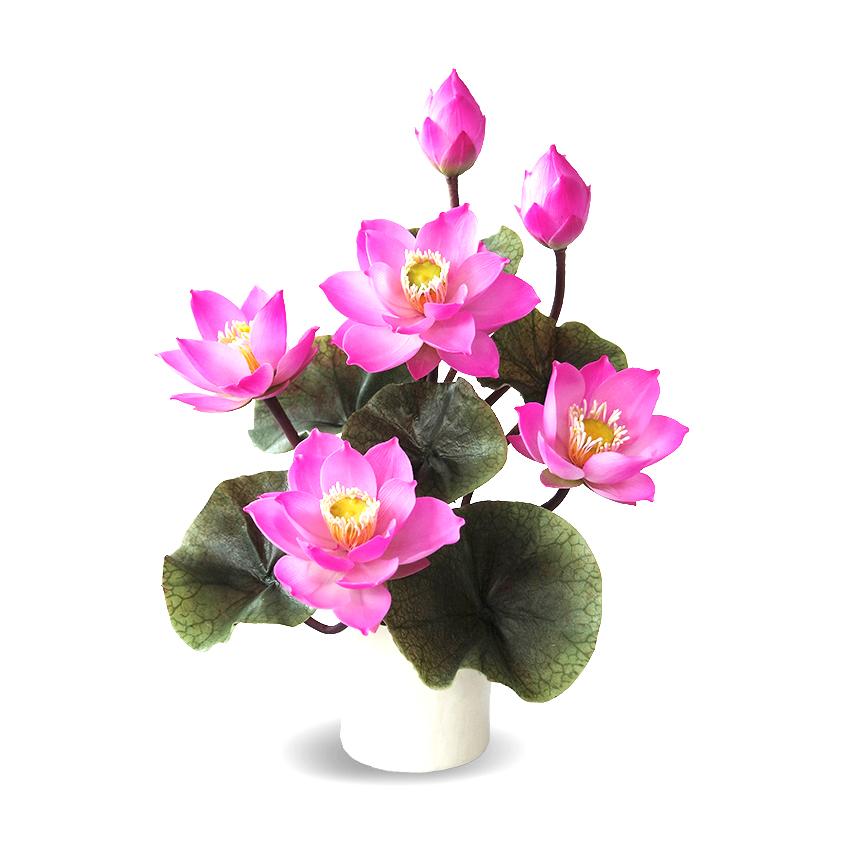 แจกันดอกบัวประดิษฐ์ ดอกบัวหลวงขนาดเล็ก 6 ดอก 6 ใบ สำหรับประดับตกแต่งหิ้งพระ เสริมความงดงามแก่มุมสงบและศักดิ์สิทธ์