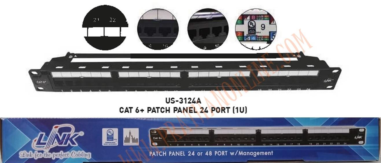 US-3124A แผงกระจายสาย cat6 24พอร์ทมีแผงจัดและติดป้ายชื่อได้ LINK