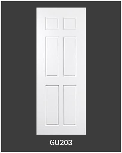 ประตู uPVC 6 ช่องตรง GU-003/203 90*200 สีขาว ไม่เจาะลูกบิด Green Plastwood
