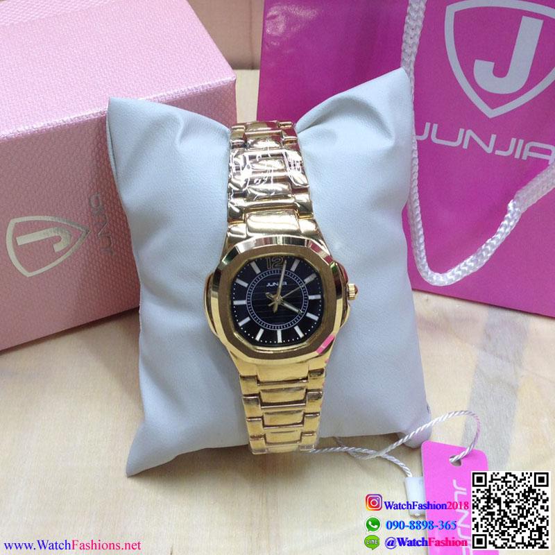 นาฬิกาข้อมือแฟชั่นนำเข้า ผู้หญิง JUNJIA GOLD กันน้ำ + ของแท้