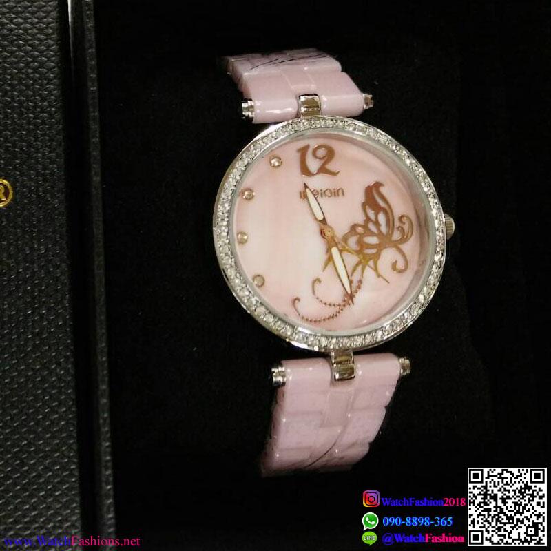 นาฬิกาข้อมือแฟชั่นนำเข้า ผู้หญิง WEIQIN เซรามิก PINK กันน้ำ + รับประกัน