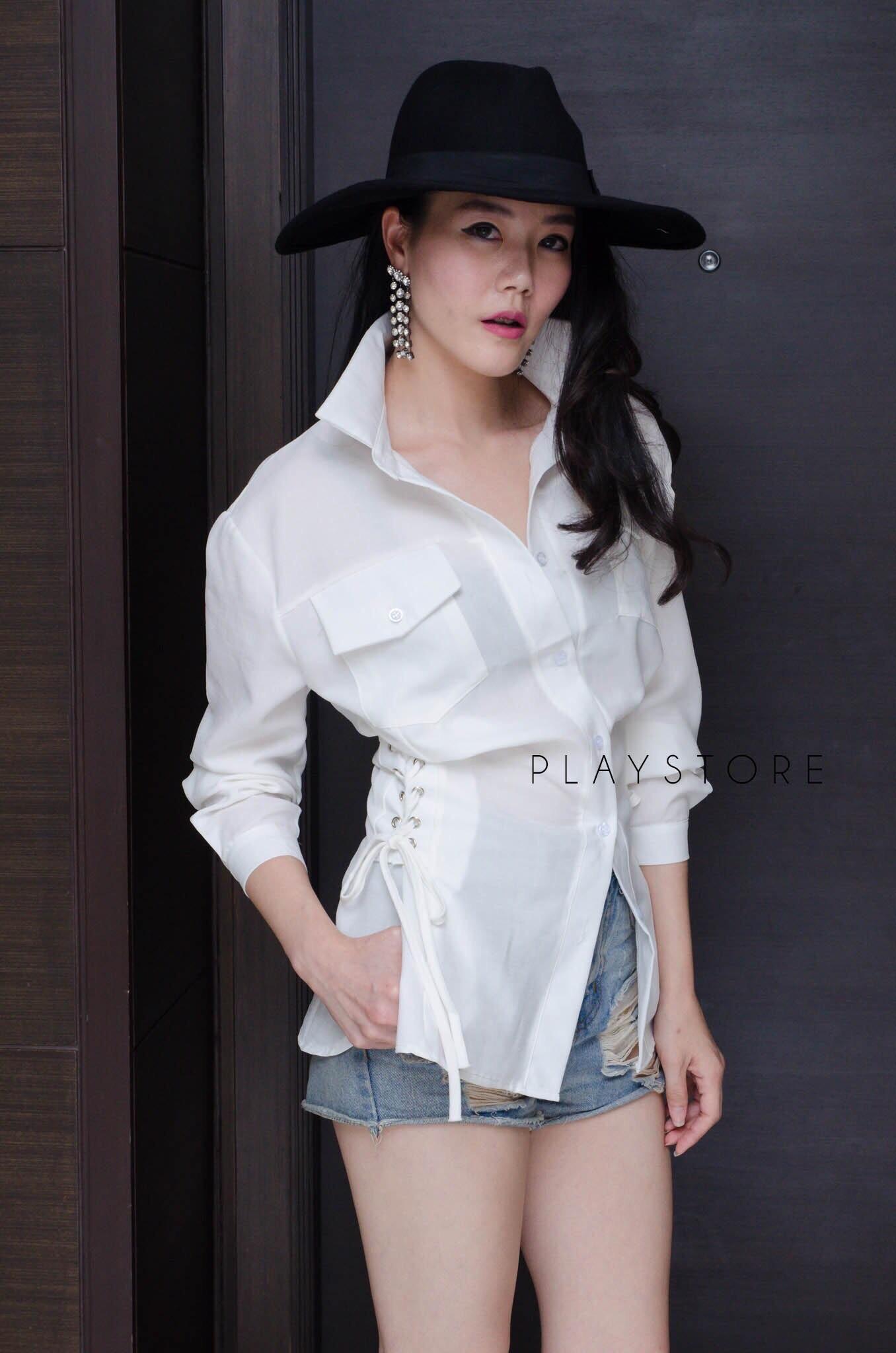 เสื้อเชิ้ตแฟชั่น HerFord Corset-Belt Shirt