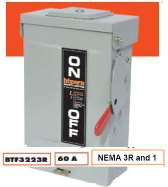 SAFETY SWITCH OUTDOOR 60A 3P FUSE