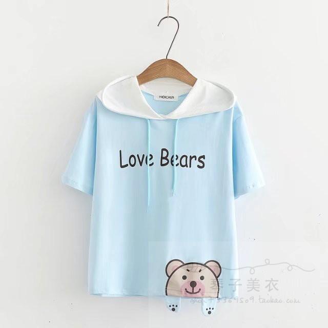เสื้อยืดแขนสั้นมีฮู๊ดลายน้องหมีน่ารักๆ แบบสวยค่ะ code : a0036