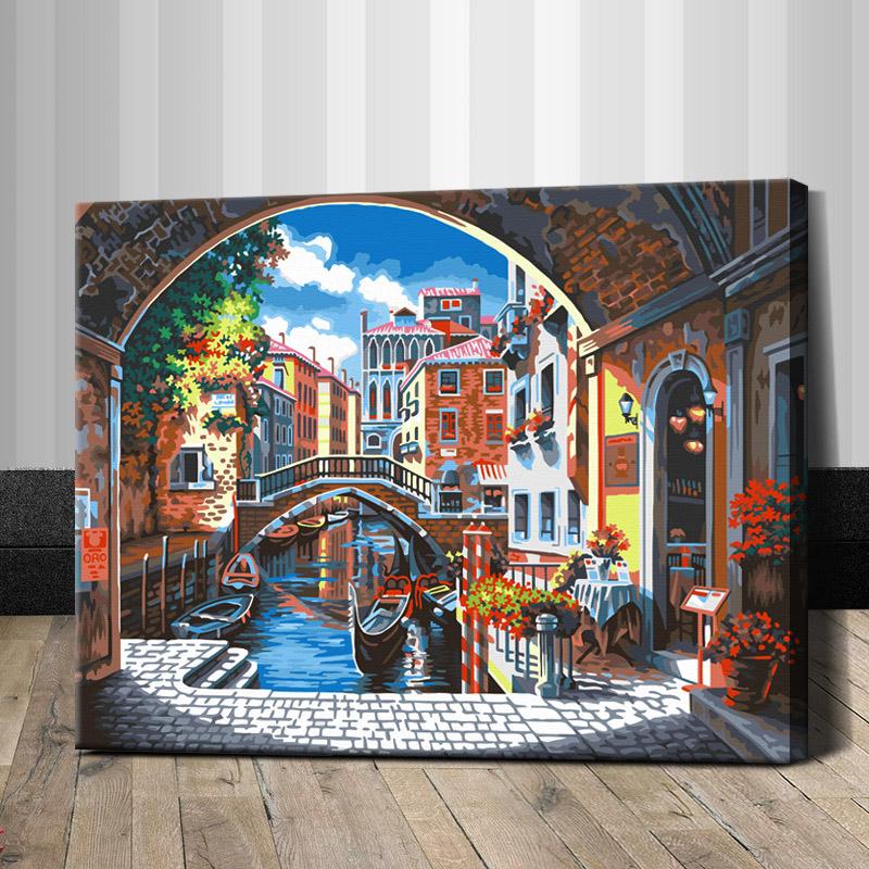 """TG337 ภาพระบายสีตามตัวเลข """"ร้านริมคลองในเวนิส"""""""