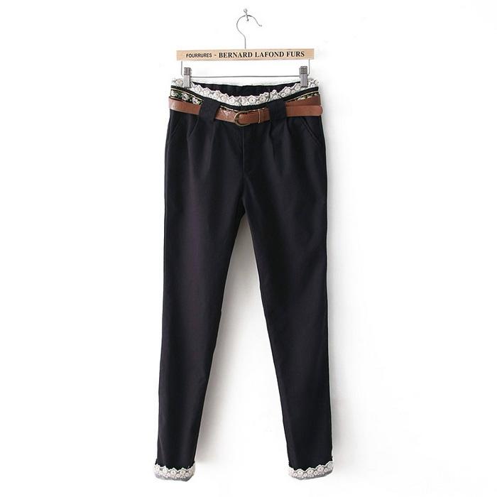 [Preorder] กางเกงแฟชั่นขายาวประดับลูกไม้มาพร้อมเข็มขัดเก๋ๆ สีน้ำเงิน 2013 Spring new sweet institute wind lace waist decorated small feet / pencil pants casual pants women