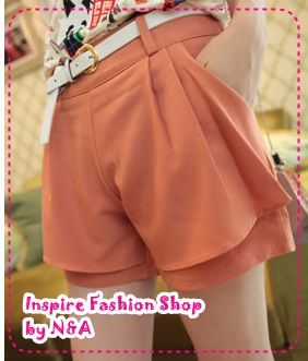 [Preorder] กางเกงขาสั้นแฟชั่นเกาหลีพร้อมเข็มขัดเก๋ๆ สีส้มอิฐ 2012 summer new casual and simple solid color shorts color to send the belt