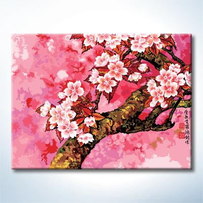 """TQ093 ภาพระบายสีตามตัวเลข """"ซากุระบานฤดูใบไม้ผลิ"""""""