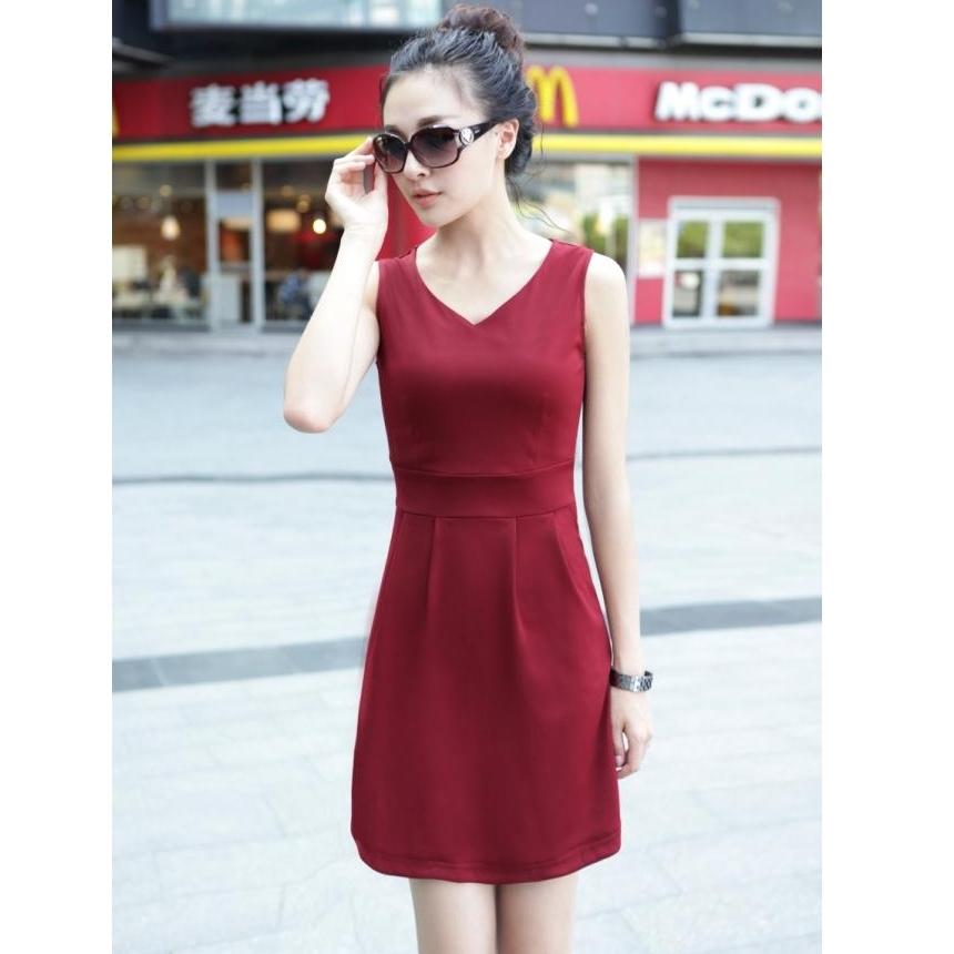[Preorder] เดรสทำงานแฟชั่นแขนกุดคอวีเอวเข้ารูป สีแดง 2013 spring and summer new Hot V-neck Slim large size multi-color package hip bottoming Dress