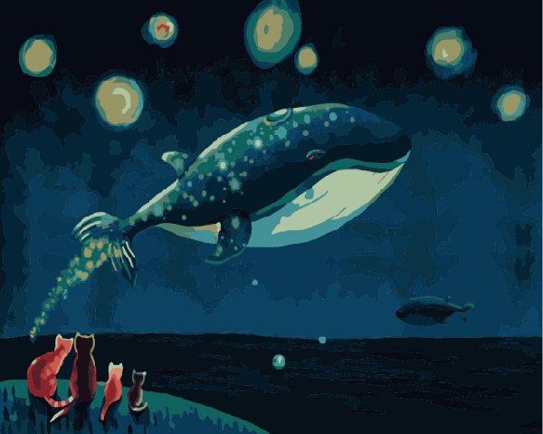 """MG591 ภาพระบายสีตามตัวเลข """"วาฬกลางท้องฟ้า"""""""