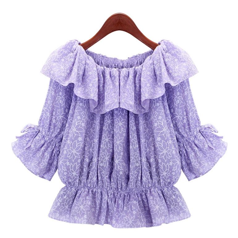 [Preorder] เสื้อแฟชั่นแขนสามส่วนระบายช่วงบน ลายดอกไม้สีม่วง (ไซส์ S M L) 2014 Korean boat neck strapless waist hem Korean loose Wawa Shan Han Fan Floral flounced blouse
