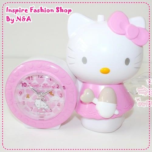 นาฬิกาปลุก Hello Kitty สีชมพู Angel genuine hello kitty alarm clock / Japanese ringtones angel wings will flash [foreign trade quality