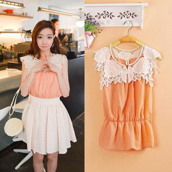 Chu ViVi เสื้อแฟชั่นแขนกุดผ้าซีฟองสีส้ม