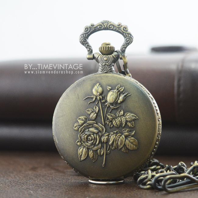 นาฬิกาพกวินเทจสีทองเหลืองวินเทจ ระบบถ่านควอทซ์ ลายช่อกุหลาบเล็ก
