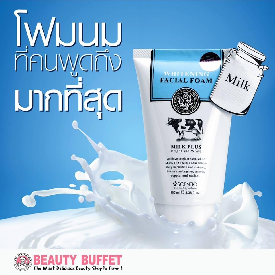 Beauty Buffet Scentio Milk Plus Whitening Q10 Facial Foam 100ml โฟมล้างหน้าจากสารสกัดน้ำนมบริสุทธิ์ บทำความสะอาดพร้อมบำรุงให้ผิวเนียนนุ่มกระจ่างใส ด้วยคุณค่าจาก Q10 ว่านหางจระเข้ และวิตามินอี - Scentio Milk Plus Whitening Q10 Facial Foam 100ML