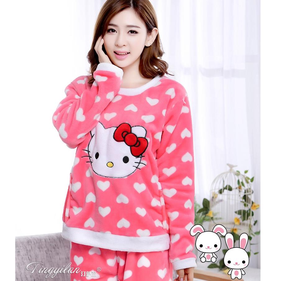 [Preorder] ชุดนอนแฟชั่นลายแมวเหมียวคิตตี้ Hello Kitty สีชมพู Autumn and winter long-sleeved thick flannel pajamas KT cat HelloKitty lovely coral velvet pajamas women tracksuit