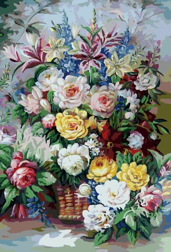 """MMC108 ภาพระบายสีตามตัวเลข """"ดอกไม้หลากสีในแจกันสาน"""""""