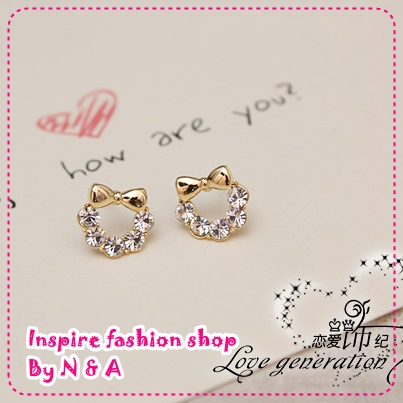 ตุ้มหูโบว์ประดับเพชร Love the ornaments century authentic plated 14K gold bow new Korea-Korean cute earrings earrings earrings female