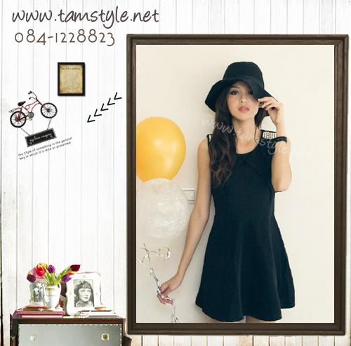 Dress055-เดรสแฟชั่นแขนกุดสีดำ ประดับมุกบนไหล่ อก 34-34 ((สินค้าพร้อมส่ง))