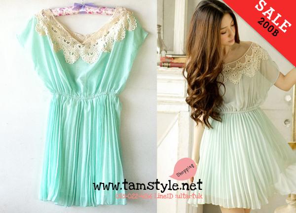 Dress015-เดรสแฟชั่น- เดรสแฟชั่น ช่วงกระโปรงผ้าชีฟองอัดพรีท คอแต่งลูกไม้ถัก มีซับใน สีเขียว รอบอก 32-37