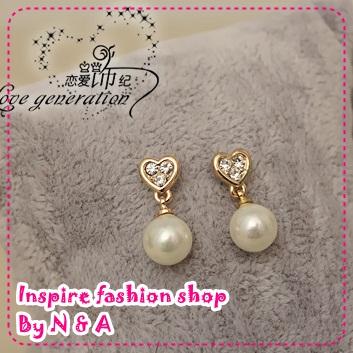 ตุ้มหูหัวใจประดับด้วยไข่มุก Tour of Korea objects Blog - Seoul, South Korea pearl earrings Korean goods plated 14K gold high-quality earrings female