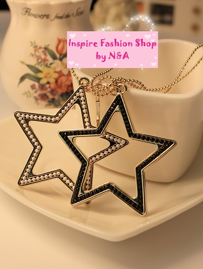 [Preorder] สร้อยคอทองจี้ดาวสองดวง Love ornaments discipline control stars in Europe and America retro long necklace sweater chain female hanging ornaments Korean jewelry