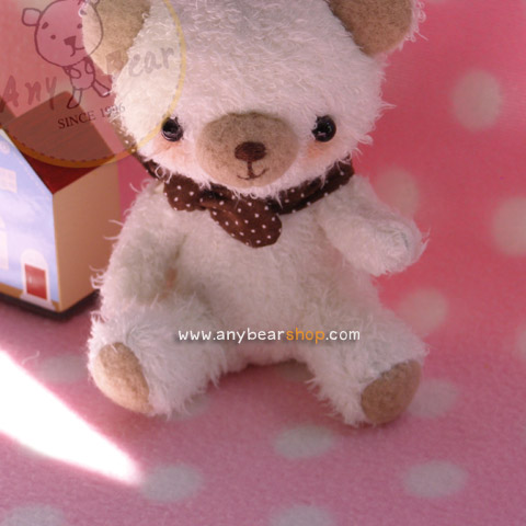 ตุ๊กตาหมีผ้าขนสีขาวขนาด 10 cm.- Cake (sit )