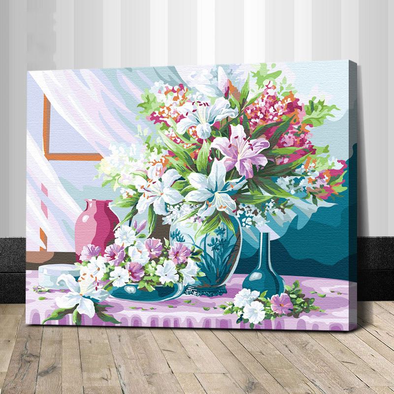 """TG169 ภาพระบายสีตามตัวเลข """"จัดดอกไม้ประดับแจกัน"""""""