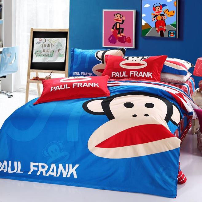 [Preorder] ผ้าปูที่นอน 1 เซ็ทมี 3 ชิ้น (ไซส์ 5 ฟุต, 6 ฟุต หรือ 6.6 ฟุต) ลาย Paul Frank สีน้ำเงิน Mouth monkey cotton denim cotton linens clearance free shipping cute cartoon Fitted genuine four sets of bedding