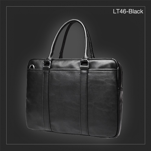 LT46-Black กระเป๋าถือผู้ชาย + สะพายข้าง หนัง PU สีดำ