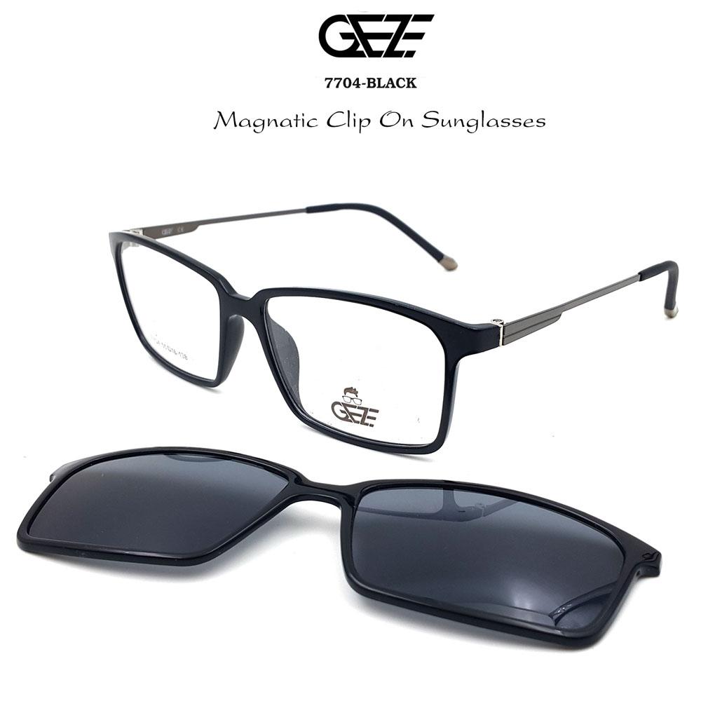 กรอบแว่นตากรองแสง ฟรี คลิปออนกันแดดสีดำ Polarized GEZE 1ClipOn รุ่น 7704 สีดำเงา ป้องกันแสงแดด รังสี UVA UVB UV400 ลดอาการแสบตา ได้อย่างดีเยี่ยม