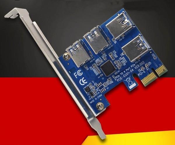 Riser Card Adapter Graphics Card PCI-E X1-X16 USB3.0 4-PORT