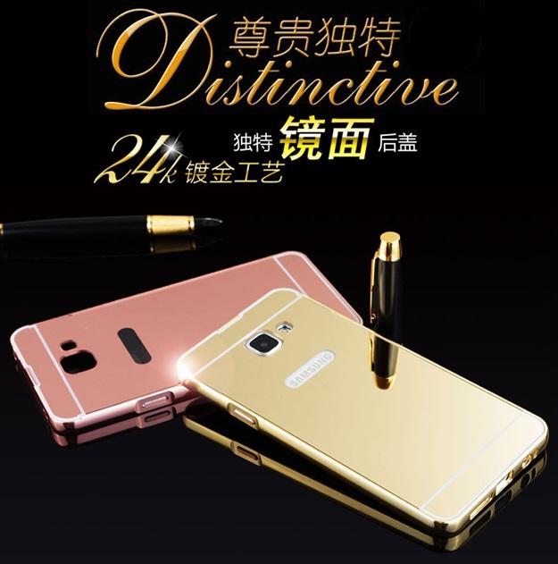 (025-118)เคสมือถือซัมซุง Case Samsung A9 Pro เคสกรอบโลหะพื้นหลังอะคริลิคแวววับคล้ายกระจกสวยหรู