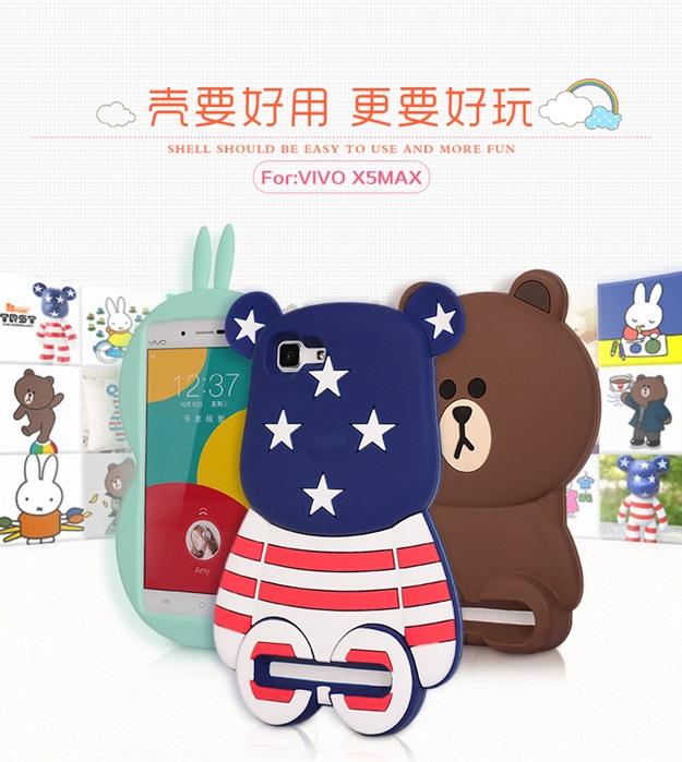 (013-015)เคสมือถือวีโว Vivo X5Max เคสนิ่มตัวการ์ตูนกระต่ายและหมี 3D
